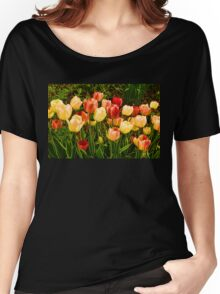 Impressions of Gardens - Particolored Vernal Tulips Women's Relaxed Fit T-Shirt