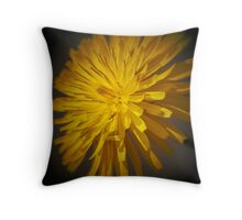 yellow dandelion in the meadow Throw Pillow
