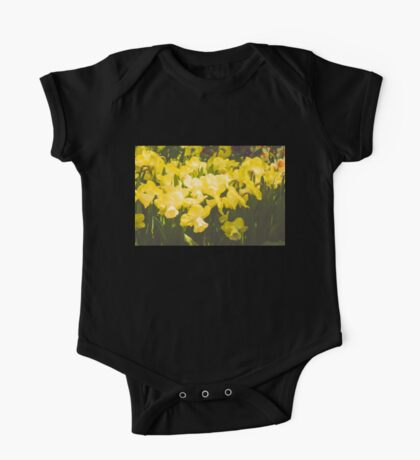 Impressions of Gardens - Golden Daffodil Blooms One Piece - Short Sleeve