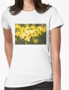 Impressions of Gardens - Golden Daffodil Blooms Womens Fitted T-Shirt