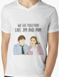 We go together like Jim and Pam Mens V-Neck T-Shirt