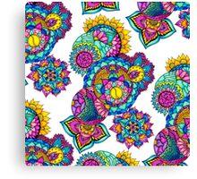 Modern bright floral watercolor mandala hand drawn Canvas Print