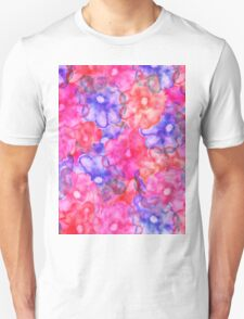 Pink blue hand painted floral watercolor modern T-Shirt