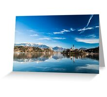 morning at the lake of Bled Greeting Card