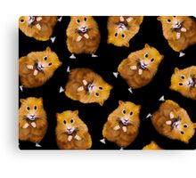 Hamsters: Cute: Random Pattern on Black, Hamster Art, Drawing Canvas Print