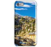 Alpine hut with a bench iPhone Case/Skin