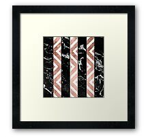 Modern black marble stripes rose gold chevron Framed Print