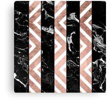 Modern black marble stripes rose gold chevron Canvas Print