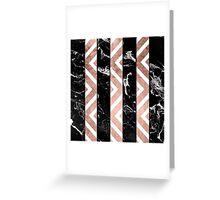 Modern black marble stripes rose gold chevron Greeting Card