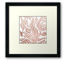 Modern geometric rose gold hand drawn floral Framed Print