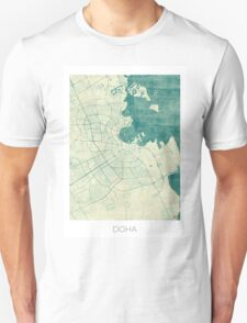 Doha Map Blue Vintage T-Shirt