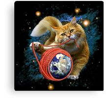 Kitty's got the world in her paws Canvas Print