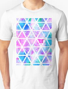 Modern pink blue watercolor geometric triangles T-Shirt