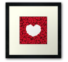 Background with red roses and empty heart Framed Print