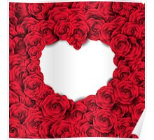 Background with red roses and empty heart Poster
