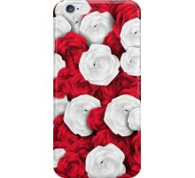 Floral pattern with white and red roses iPhone Case/Skin