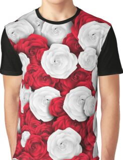 Floral pattern with white and red roses Graphic T-Shirt