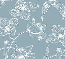 Tulip design china blue by amyoharris