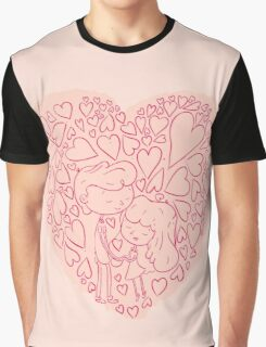 Hand drawn cute lovely couples Graphic T-Shirt