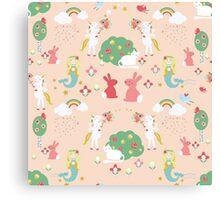 Mermaids and Unicorns, peach Canvas Print
