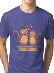 Hand painted cats couple Tri-blend T-Shirt