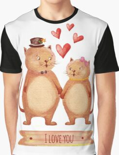 Hand painted cats couple Graphic T-Shirt