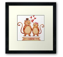 Hand painted cats couple Framed Print