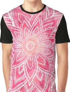 Bright hand drawn abstract pink watercolor flower Graphic T-Shirt