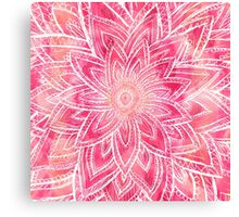 Bright hand drawn abstract pink watercolor flower Canvas Print