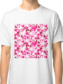 Hearts valentine day pattern Classic T-Shirt