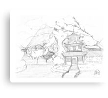 Asian pagoda (B 'n W) Canvas Print