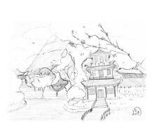 Asian pagoda (B 'n W) Photographic Print