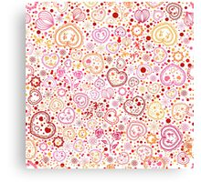 Ornamental pattern with hearts and flowers Canvas Print
