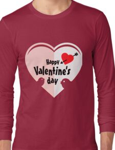 Valentine cut out heart with birds Long Sleeve T-Shirt