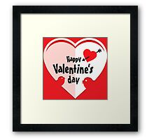 Valentine cut out heart with birds Framed Print