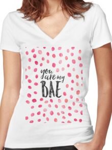 Modern typography BAE black pink watercolor Women's Fitted V-Neck T-Shirt