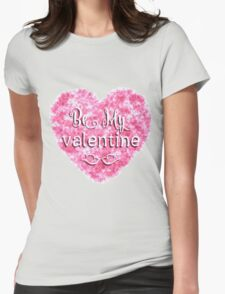Valentines Day background with pink heart Womens Fitted T-Shirt
