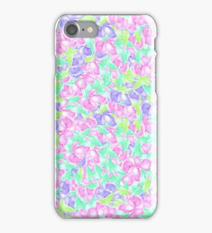 Pastel pink turquoise floral watercolor pattern iPhone Case/Skin