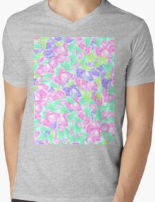 Pastel pink turquoise floral watercolor pattern Mens V-Neck T-Shirt
