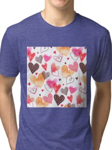 Watercolor cute hearts pattern Tri-blend T-Shirt