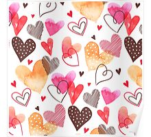 Watercolor cute hearts pattern Poster