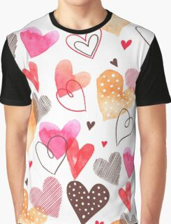 Watercolor cute hearts pattern Graphic T-Shirt