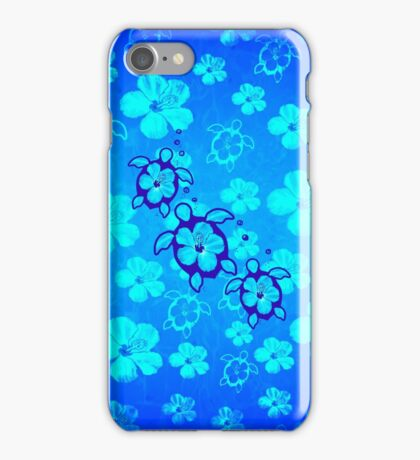 Blue Hibiscus And Honu Turtles iPhone Case/Skin