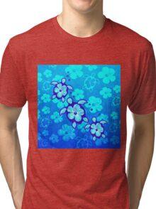 Blue Hibiscus And Honu Turtles Tri-blend T-Shirt