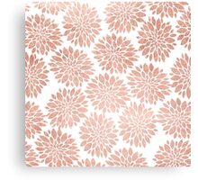 Modern rose gold geometric floral abstract Canvas Print