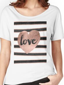 Modern love typography rose gold hearts stripes  Women's Relaxed Fit T-Shirt