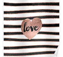 Modern love typography rose gold hearts stripes  Poster