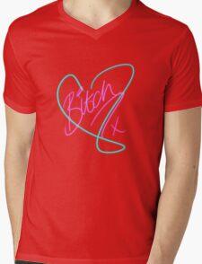 B*tch - Heart Print Mens V-Neck T-Shirt