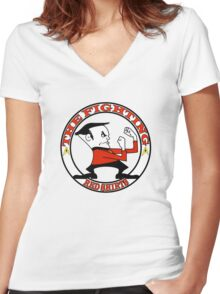 The Fighting Red Shirts with logo Women's Fitted V-Neck T-Shirt