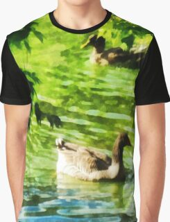 Ducks on a Tranquil Pond Graphic T-Shirt